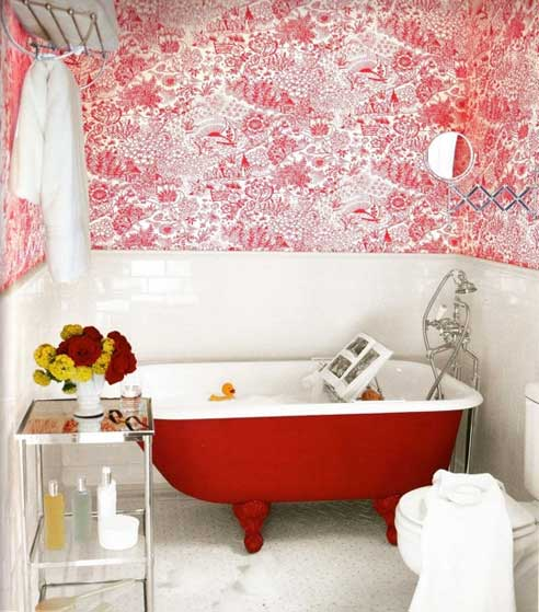 Red Clawfoot Tub on Padstyle